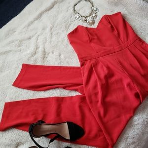 Red Strapless Jumpsuit
